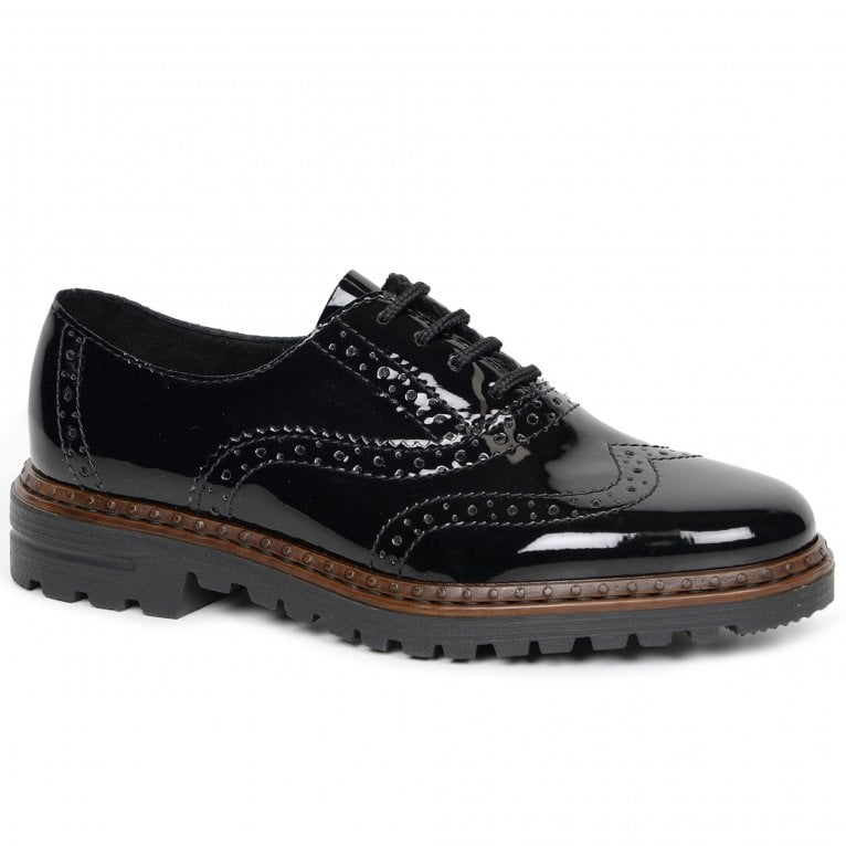 Rieker Mercury Womens Casual Patent Chunky Soled Brogues