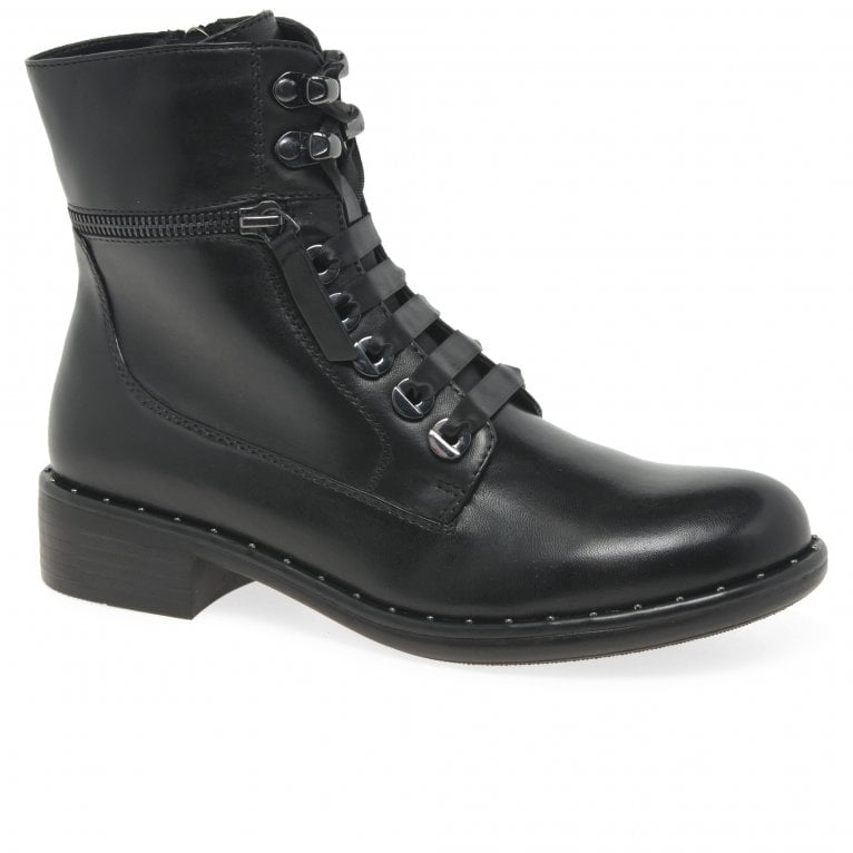 Regarde Le Ciel Roxana 04 Womens Leather Ribbon Lace Military Ankle Boots