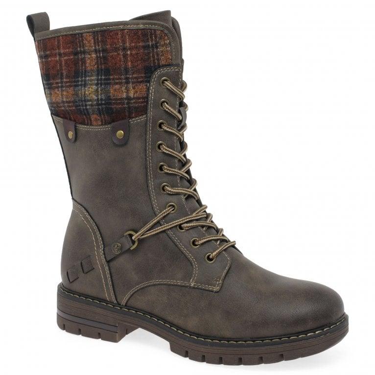 Rieker Plaid Womens Calf Length Boots