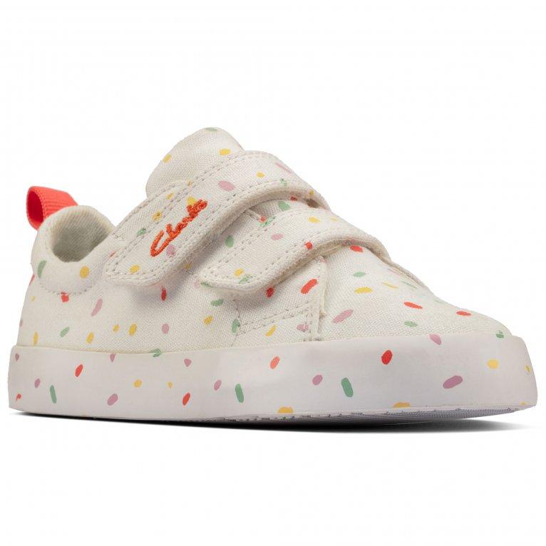 Clarks Foxing Print T Kids Infant Canvas Shoes