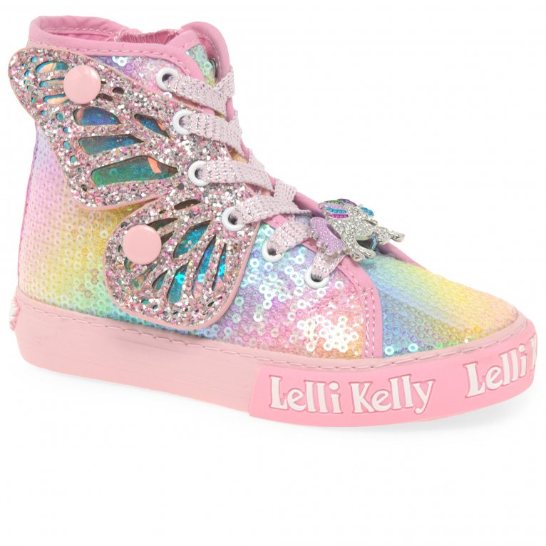 Lelli Kelly Unicorn Wings Girls Canvas Hi Top Trainers