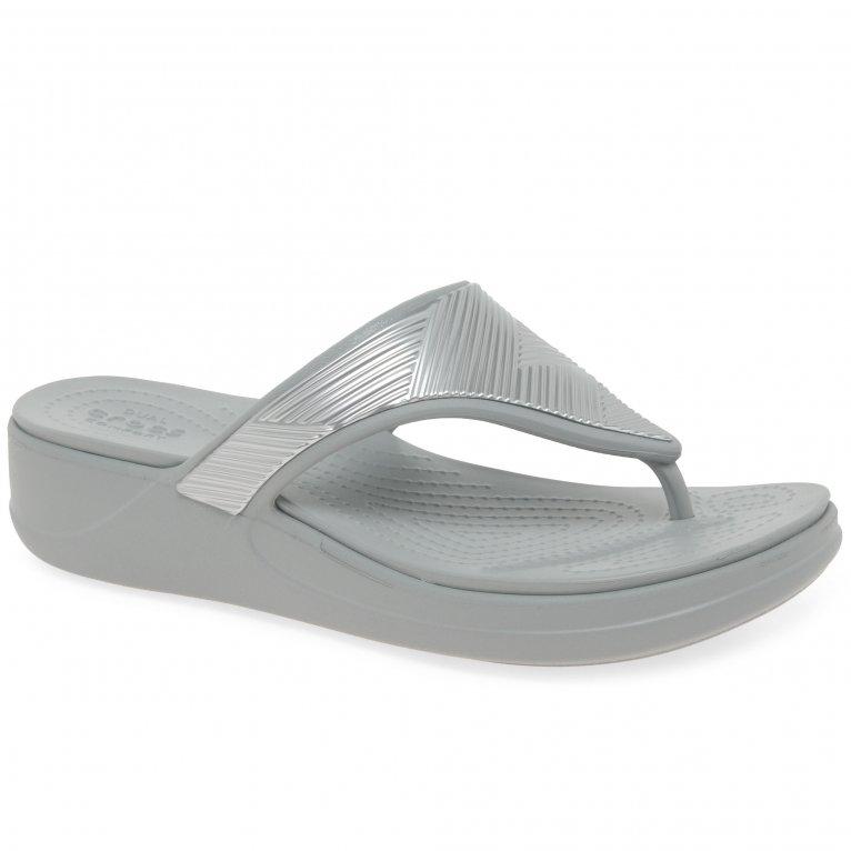 Crocs Monterey Womens Met Flip Wedge Sandals