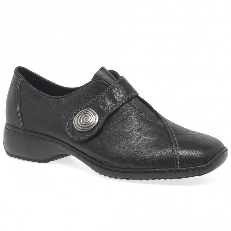 Rieker Swanky Ladies Rip Tape Fastening Leather Shoes