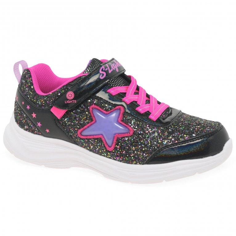 Skechers Glimmer Kicks Starlet Shine Girls Riptape Trainers