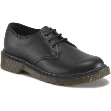 Everly Kids Black Softy T Leather Shoes