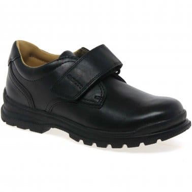 William Boys Black Leather School Shoes