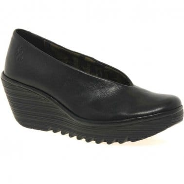 Yaz Ladies Black Leather Wedge Heeled Shoes
