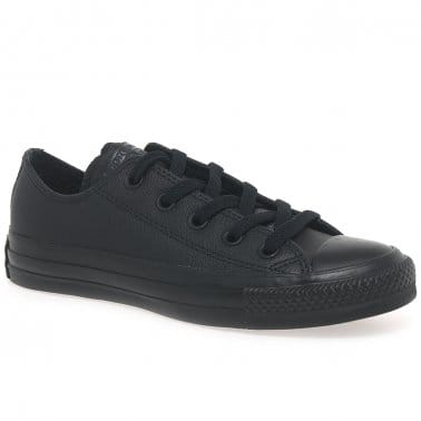All Star Oxford Senior Black Leather Trainers