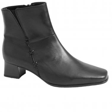 Bassanio Leather Womens Black Ankle Boots