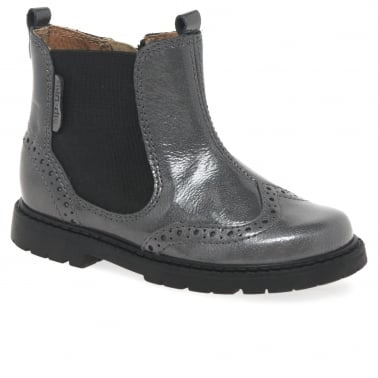 Chelsea Junior Girls Grey Patent Boots