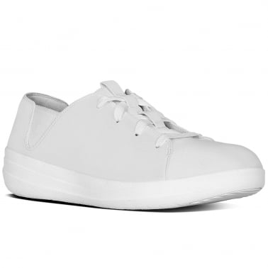 F-Sporty Womens White Leather Lace Up Trainers